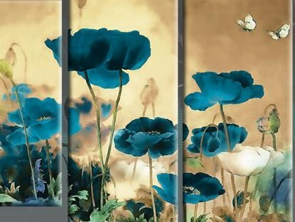 And Cream To Multi Field Poppies Flowers Floral 4 Panel Picture Pertaining To Teal Flower Canvas Wall Art (Image 5 of 20)
