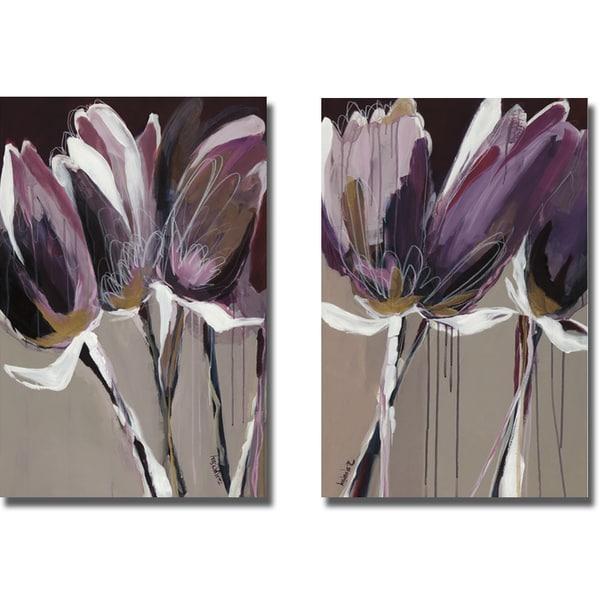 Angela Maritz 'aubergine Splendor I And Ii' 2 Piece Canvas Art Set Inside Aubergine Wall Art (View 11 of 20)