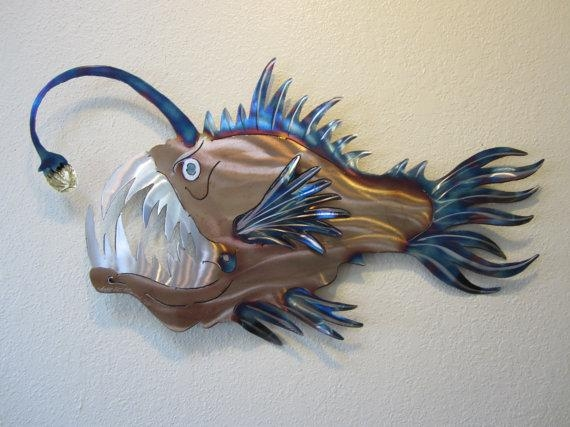 Anglerfish Angler Fish Deep Sea Ocean Metal Wall Art Stainless In Stainless Steel Fish Wall Art (Image 5 of 20)