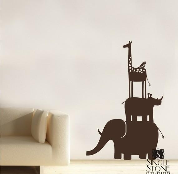 Animal Safari Kids Wall Decals Stack Vinyl Wall Art With Regard To Animal Wall Art (Image 6 of 20)
