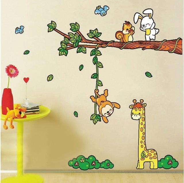 Animal Tree Cartoon Renovator Cute Children Bedroom Removable Wall Within Children Wall Art (Image 5 of 20)