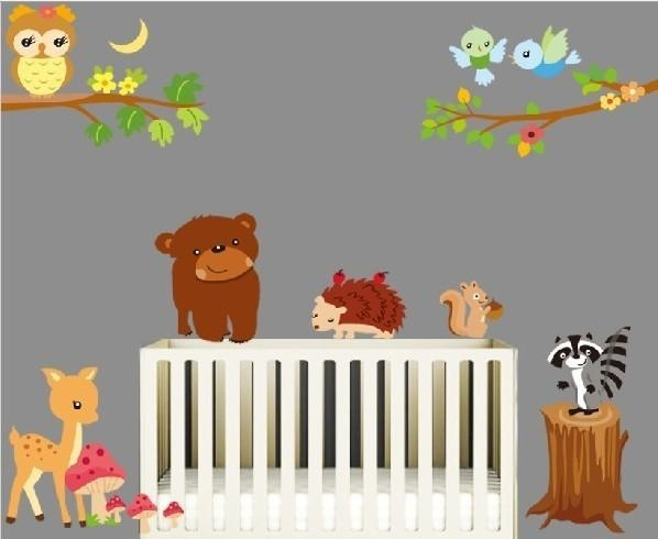 Animals Style Nursery Wall Art Sticker With Cute Owl Throughout Nursery Wall Art (Image 2 of 20)