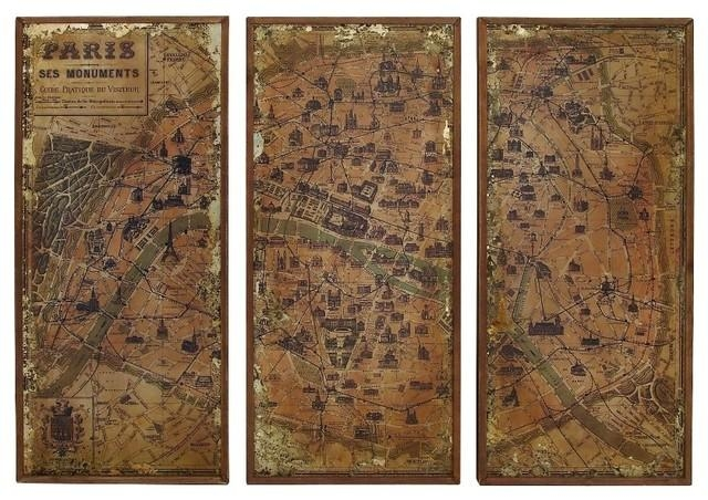 Antique Finish Old World Map Of Paris Brown 3 Panel Wall Art Home For Antique Map Wall Art (Image 6 of 20)