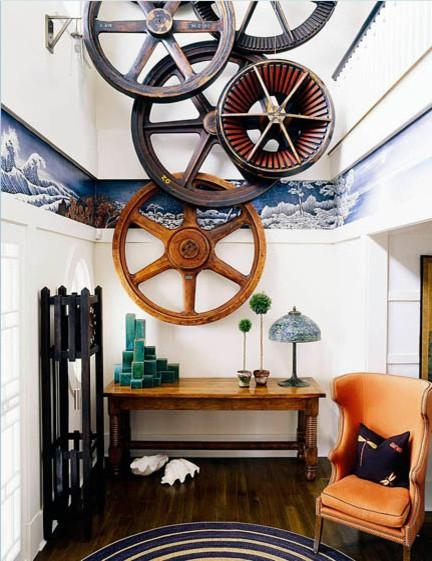Antique Industrial Gear Decor – Industrial – Entry – Los Angeles Regarding Large Retro Wall Art (Image 4 of 20)