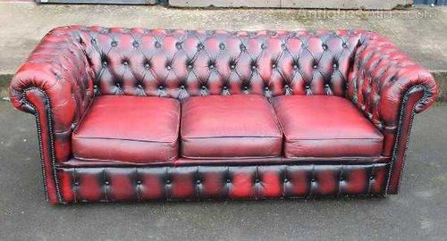 Antiques Atlas – Ox Blood Red Chesterfield 3 Seater Leather Sofa Within Red Chesterfield Chairs (Image 6 of 20)