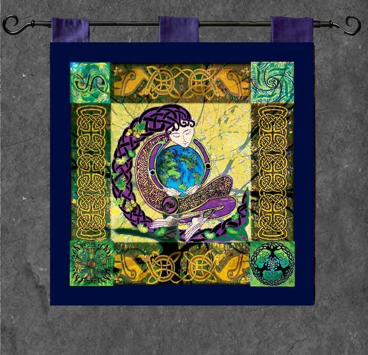 Anu Earth Mother Wall Hanging Celtic Artwelsh Artist Jen Inside Celtic Tree Of Life Wall Art (Image 4 of 20)