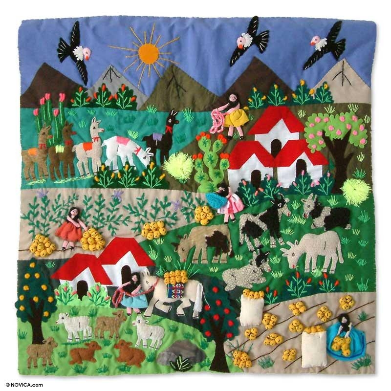 Applique Patchwork Tapestry Peruvian Folk Art – Potato Harvest Throughout Peruvian Wall Art (Image 5 of 20)
