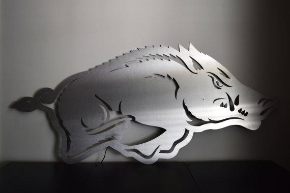 Arkansas Razorback Logo Floating Metal Wall Art With Regard To Razorback Wall Art (Image 9 of 20)