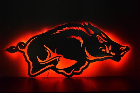 Arkansas Razorback Logo Led Backlit Floating Metal Wall Art Throughout Razorback Wall Art (Image 11 of 20)