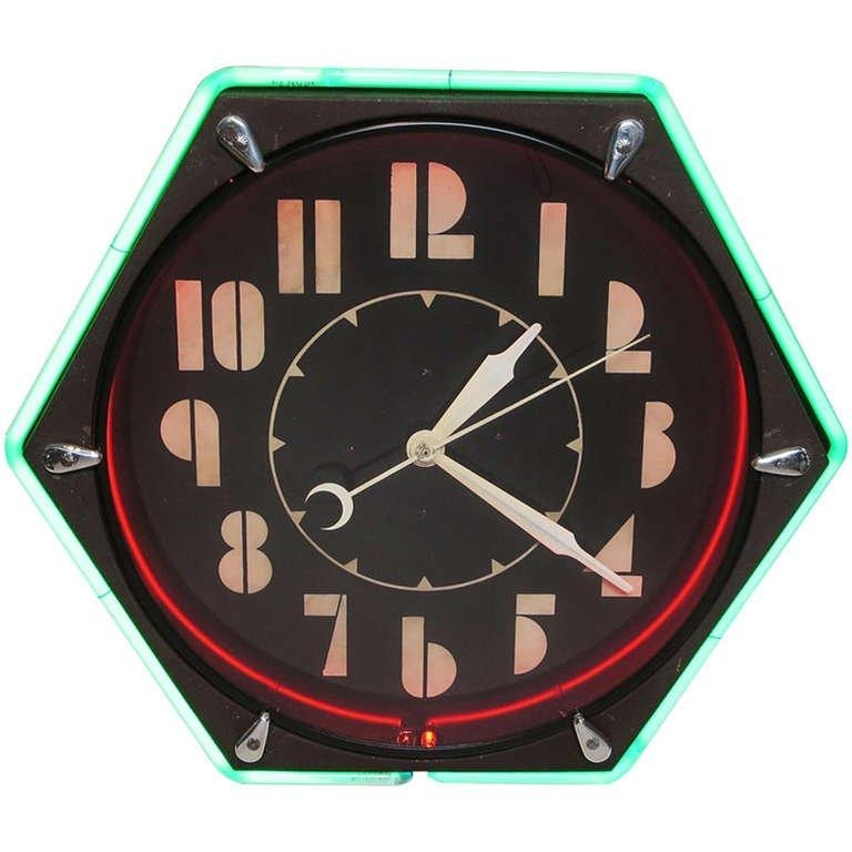 Art Deco Hexagon Neon Wall Clock At 1Stdibs With Art Deco Wall Clocks (Image 3 of 20)
