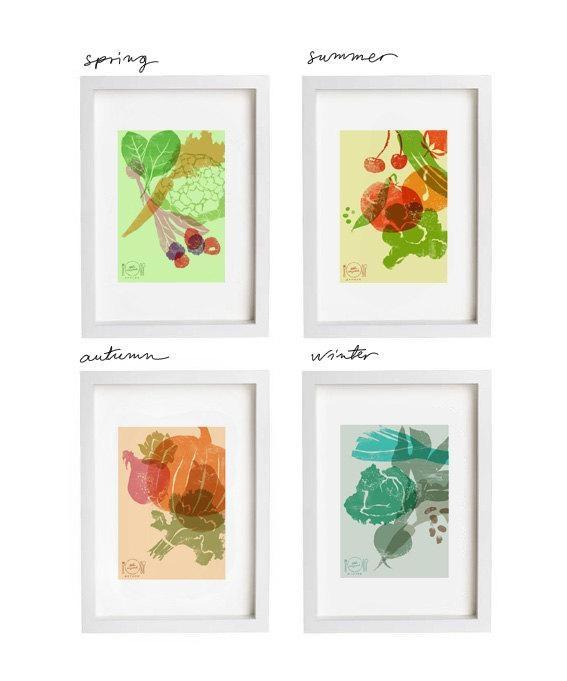 Art For Kitchen Eat Seasonal Print Set / 4 Seasons Wall Decor With Regard To Seasonal Wall Art (View 4 of 20)