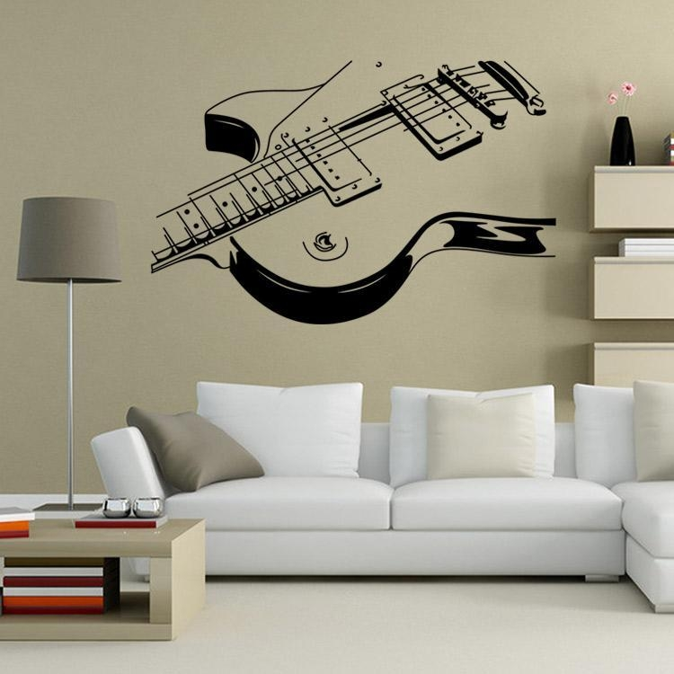 Art Guitar Wall Decal Sticker Decoration Musical Instruments Wall In Musical Instrument Wall Art (View 3 of 20)