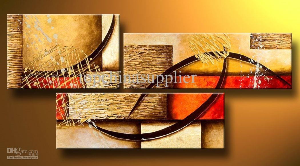 Art Modern Abstract Oil Painting Multiple Piece Canvas Art Set For 3 Set Canvas Wall Art (Image 4 of 20)