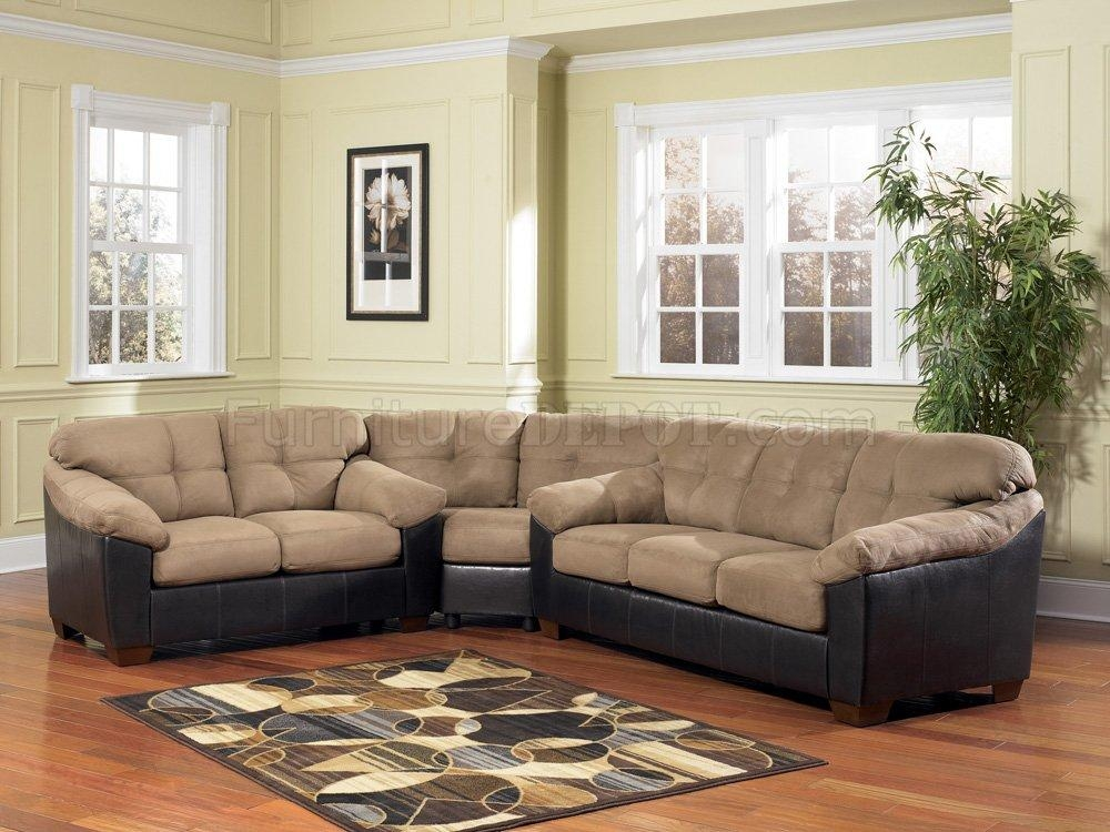 Ashley 3590 Cocoa Microfiber Sectional Sofa W/faux Leather With Regard To Ashley Faux Leather Sectional Sofas (Image 3 of 20)