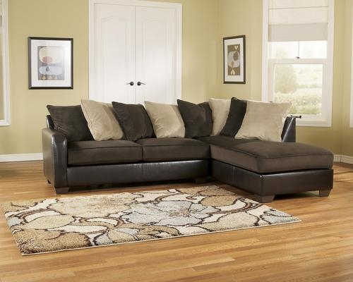 Ashley Furniture Gemini – Chocolate Contemporary Faux Leather With Ashley Faux Leather Sectional Sofas (Image 5 of 20)