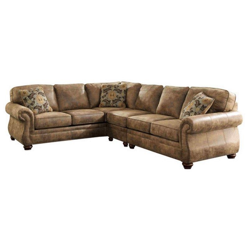 Ashley Larkinhurst 3 Piece Faux Leather Sectional In Earth – 31901 With Regard To Ashley Faux Leather Sectional Sofas (Image 7 of 20)