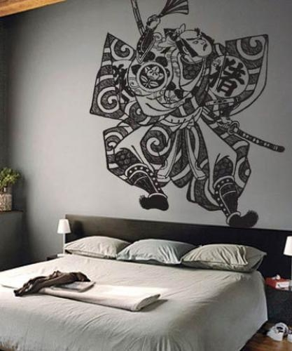 Asian Art Wall Stickers :: Samurai Fighter Wall Decal Regarding Samurai Wall Art (Image 7 of 20)
