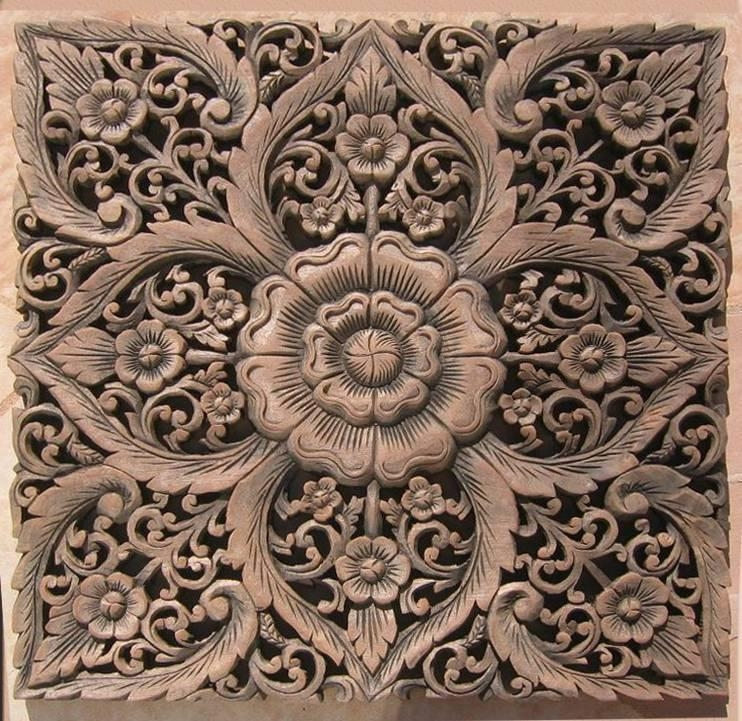 Asian Wood Carving Wall Art Panel Wall Hanging Lotus Wood Carved With Regard To Wood Carved Wall Art Panels (View 16 of 20)