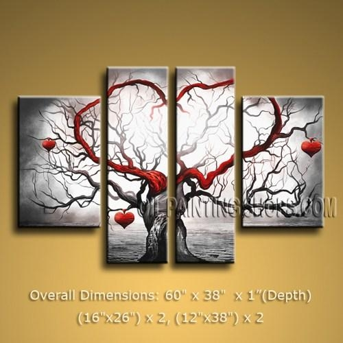 Astonishing Large 4 Panels Wall Art For Bathroom Contemporary Tree Intended For Contemporary Bathroom Wall Art (View 19 of 20)