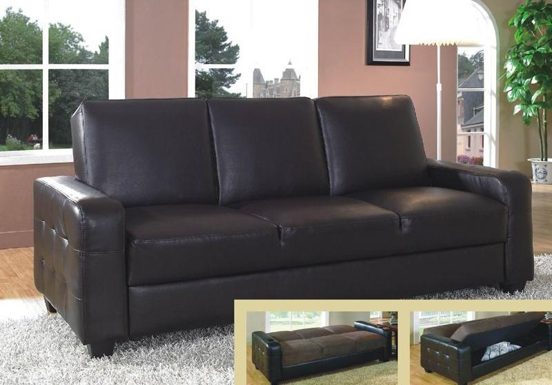 Attractive Futon Leather Sofa Bed Metal Leg Faux Leather Sofa Bed Pertaining To Faux Leather Futon Sofas (Image 6 of 20)