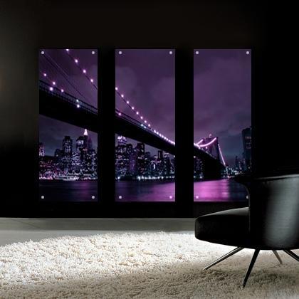 Aubergine Brooklyn Bridge Perspex Acrylic Art. Bathroom Art (View 7 of 20)