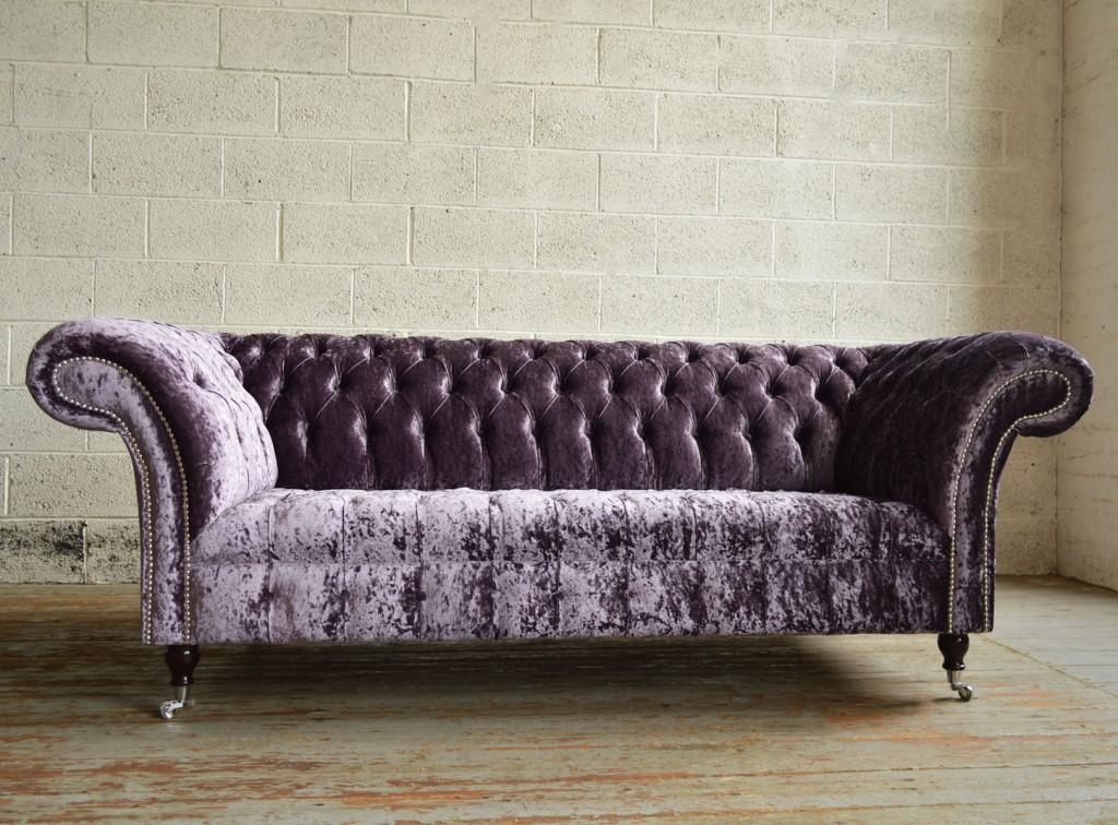 Aubergine Glitz Velvet 3 Seater Chesterfield Sofa | Abode Sofas Inside Purple Chesterfield Sofas (Image 4 of 20)