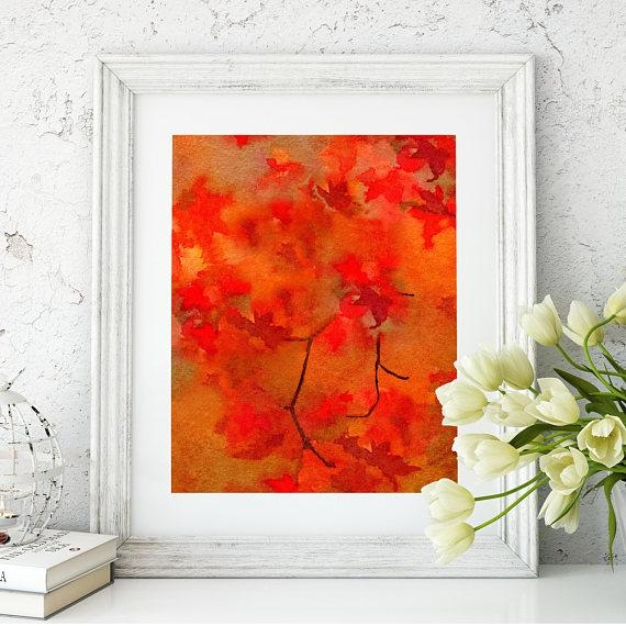 Autumn Inspired Watercolor Print Rustic Cottage Chic Home Throughout Autumn Inspired Wall Art (View 4 of 20)