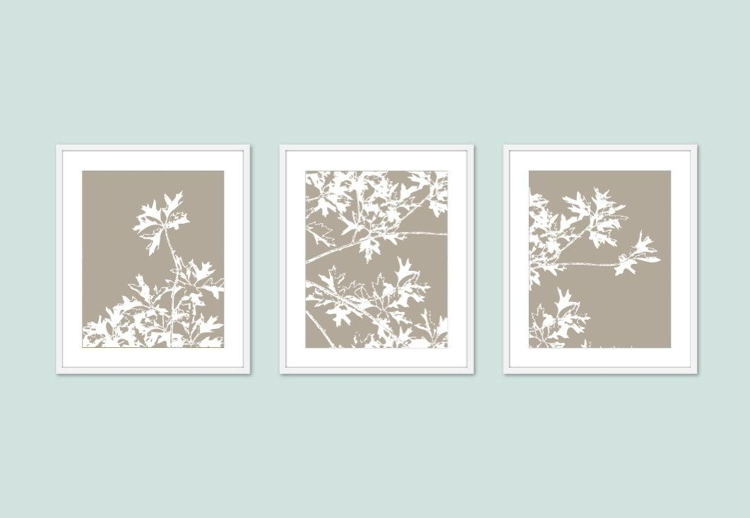 Autumn Tree Art Prints Modern Nature Wall Art Set Of 3 Intended For Neutral Wall Art (Image 5 of 20)