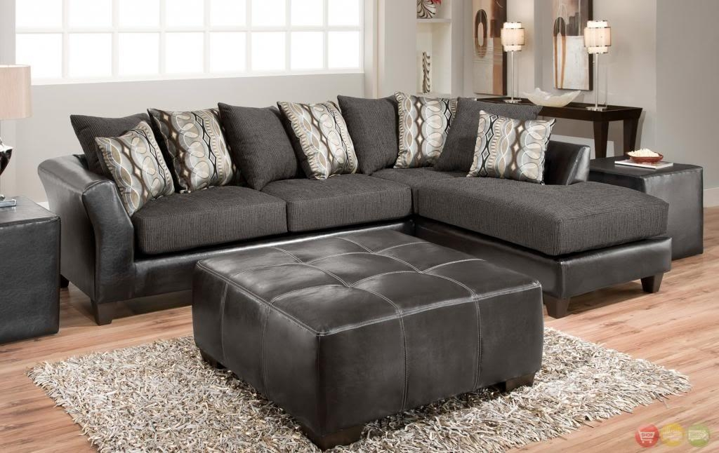 Avanti Black & Gray Loose Pillow Back L Shaped Sectional Sofa W Intended For Loose Pillow Back Sofas (Image 1 of 20)