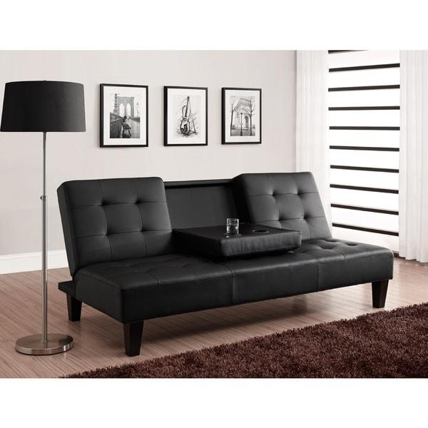 Avenue Greene Julia Cup Holder Convertible Futon Sofa Bed – Free Intended For Convertible Futon Sofa Beds (Image 2 of 20)