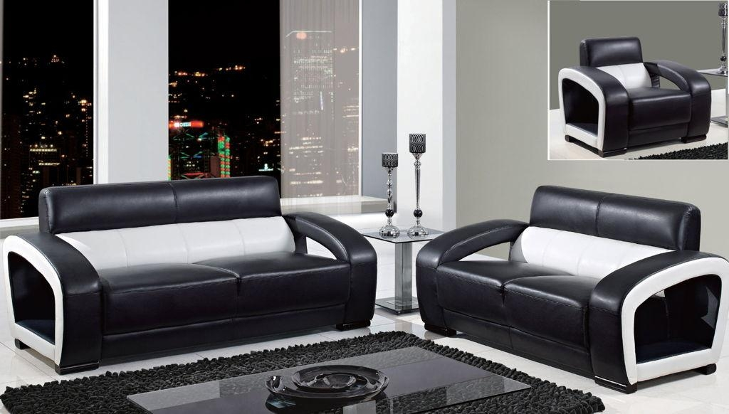 Awesome Global Black And White Leather Modern Sofa Loveseat With Pertaining To Black And White Sofas And Loveseats (Image 5 of 20)