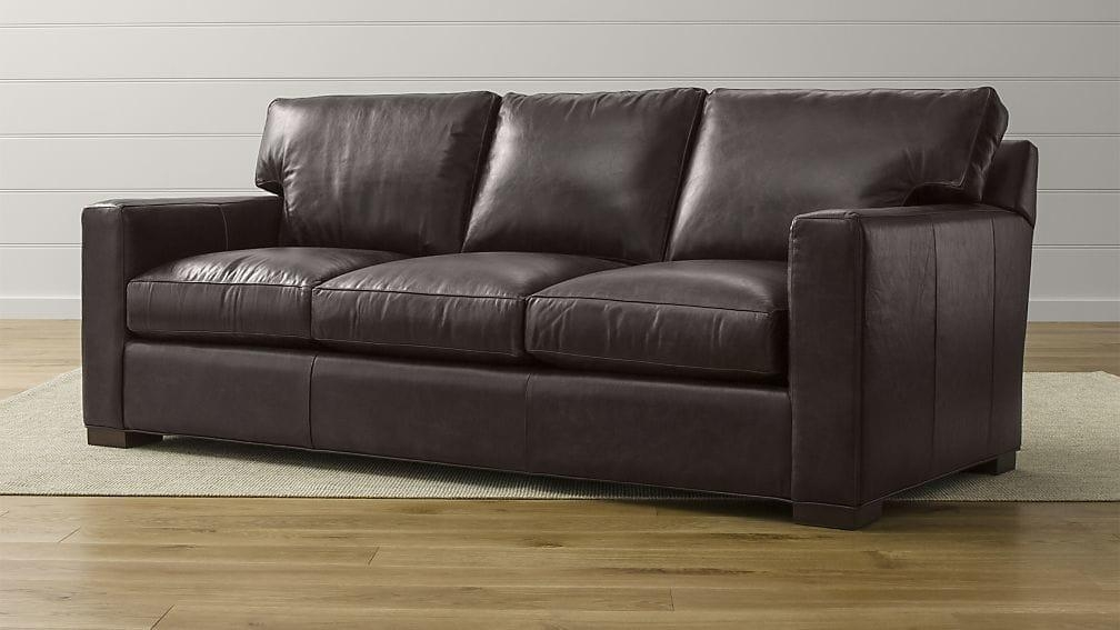 Axis Ii Dark Brown Leather Queen Sleeper Sofa | Crate And Barrel Throughout Crate And Barrel Sofa Sleepers (Image 2 of 20)