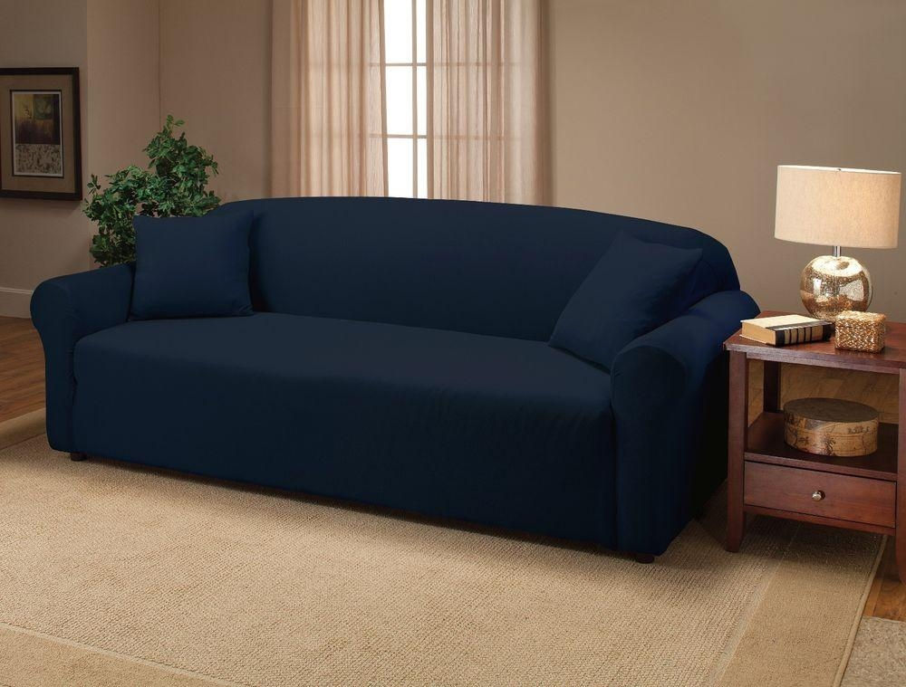 Azul Marino Jersey Couch Stretch Slipcover, Cubiertas De Muebles Pertaining To Navy Blue Slipcovers (Image 1 of 20)