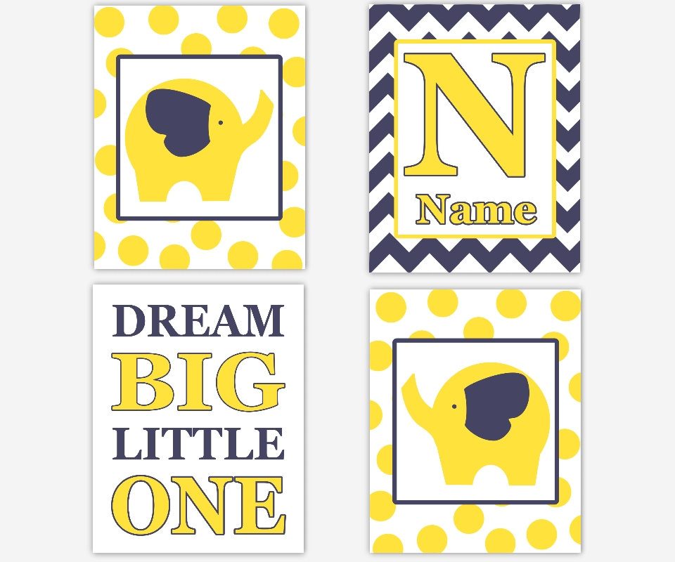 Baby Boys Canvas Nursery Wall Art Yellow Navy Blue Dream Big Regarding Yellow And Blue Wall Art (Image 6 of 20)