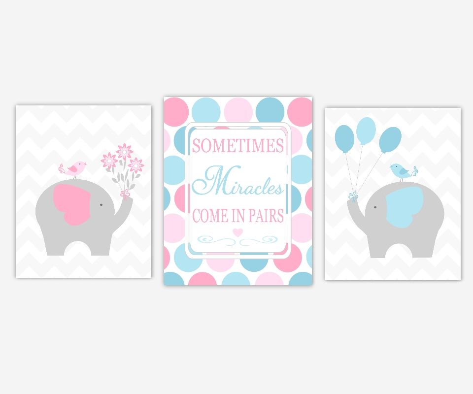 Baby Boys Girls Nursery Canvas Wall Art Pink Blue Elephant Love Regarding Nursery Canvas Art (Image 1 of 20)