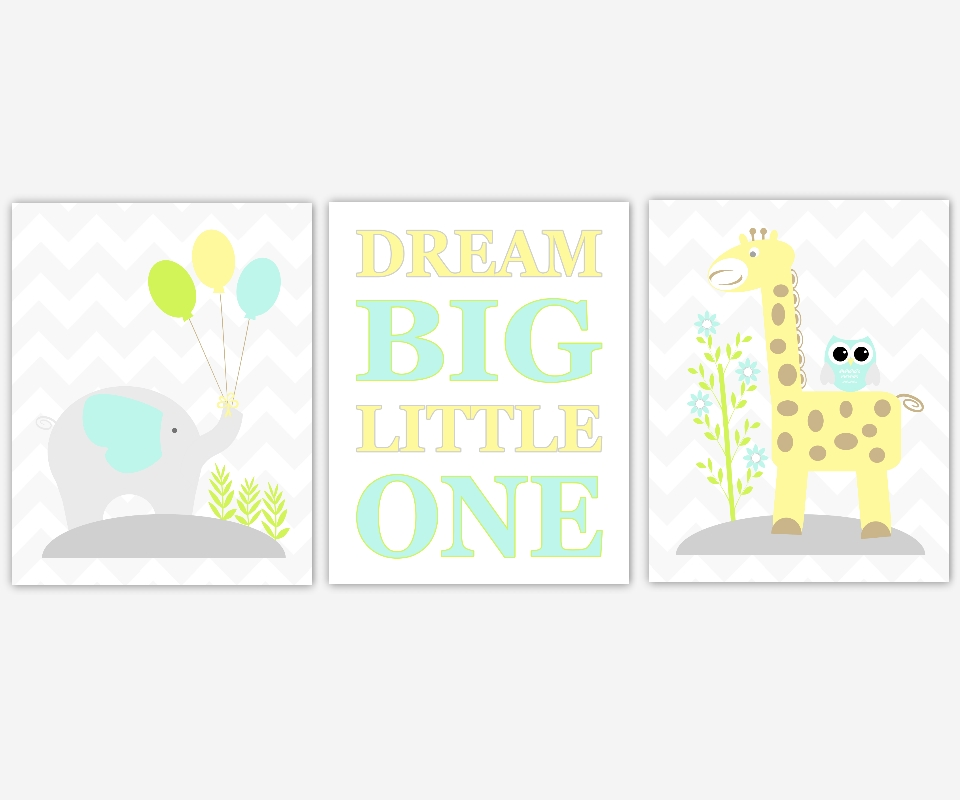 Baby Boys Nursery Canvas Wall Art Yellow Teal Aqua Dream Big Inside Kids Canvas Wall Art (Image 4 of 20)