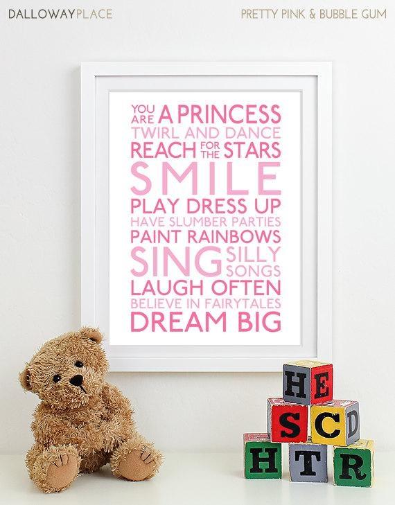 Baby Girl Nursery Art For Girls Room Decor Baby Girl Gift For Pertaining To Wall Art For Girls (Image 3 of 20)