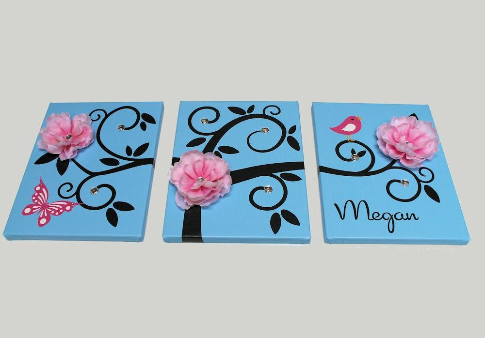 Baby Girl Nursery Decor Tree Vine Canvas Art With Girls Canvas Wall Art (View 8 of 20)