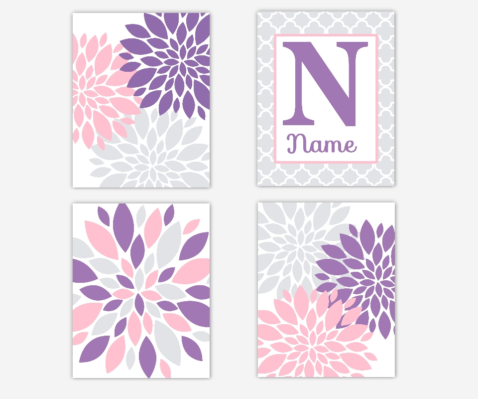 Baby Girl Nursery Wall Art Purple Lavender Pink Gray Grey Dahlia Intended For Pink And Grey Wall Art (Image 2 of 20)