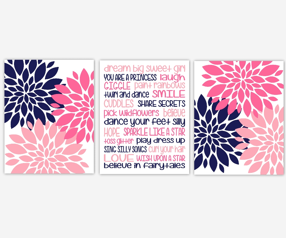 Baby Girls Canvas Nursery Wall Art Navy Blue Pink Dream Big Sweet With Girls Canvas Wall Art (View 18 of 20)