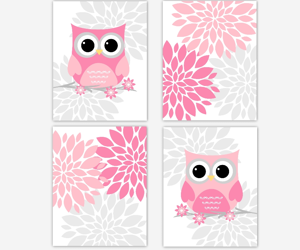 Baby Girls Canvas Nursery Wall Art Pink Gray Grey Flower Burst Regarding Pink And Grey Wall Art (Image 3 of 20)