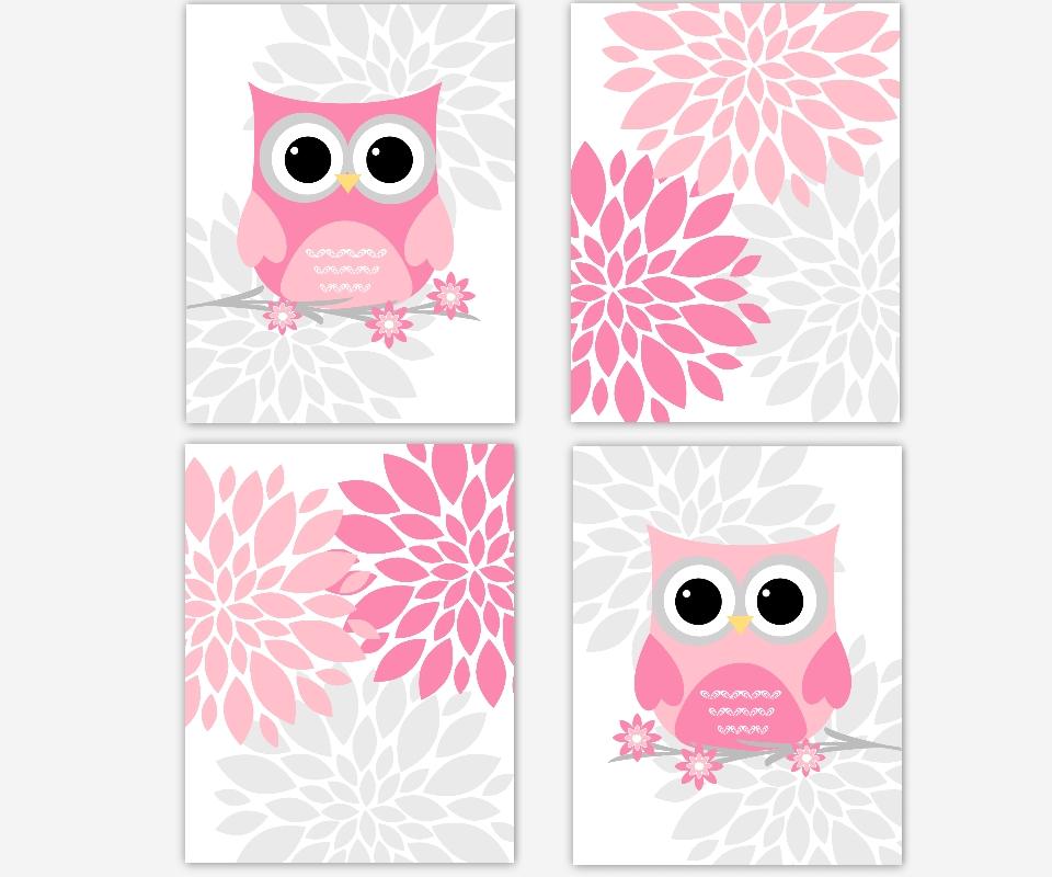 Baby Girls Canvas Nursery Wall Art Pink Gray Grey Flower Burst Regarding Pink And Grey Wall Art (View 15 of 20)