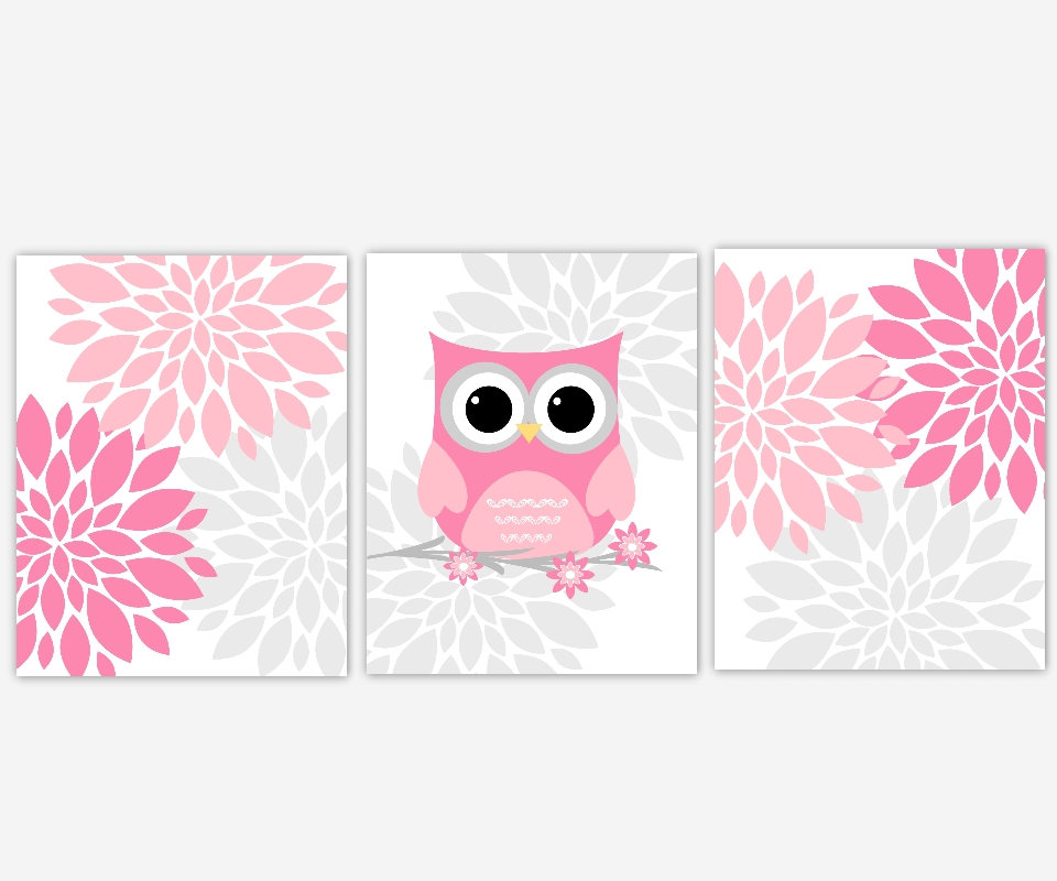 Baby Girls Canvas Nursery Wall Art Pink Gray Grey Owl Flower Burst Regarding Pink And Grey Wall Art (Image 4 of 20)