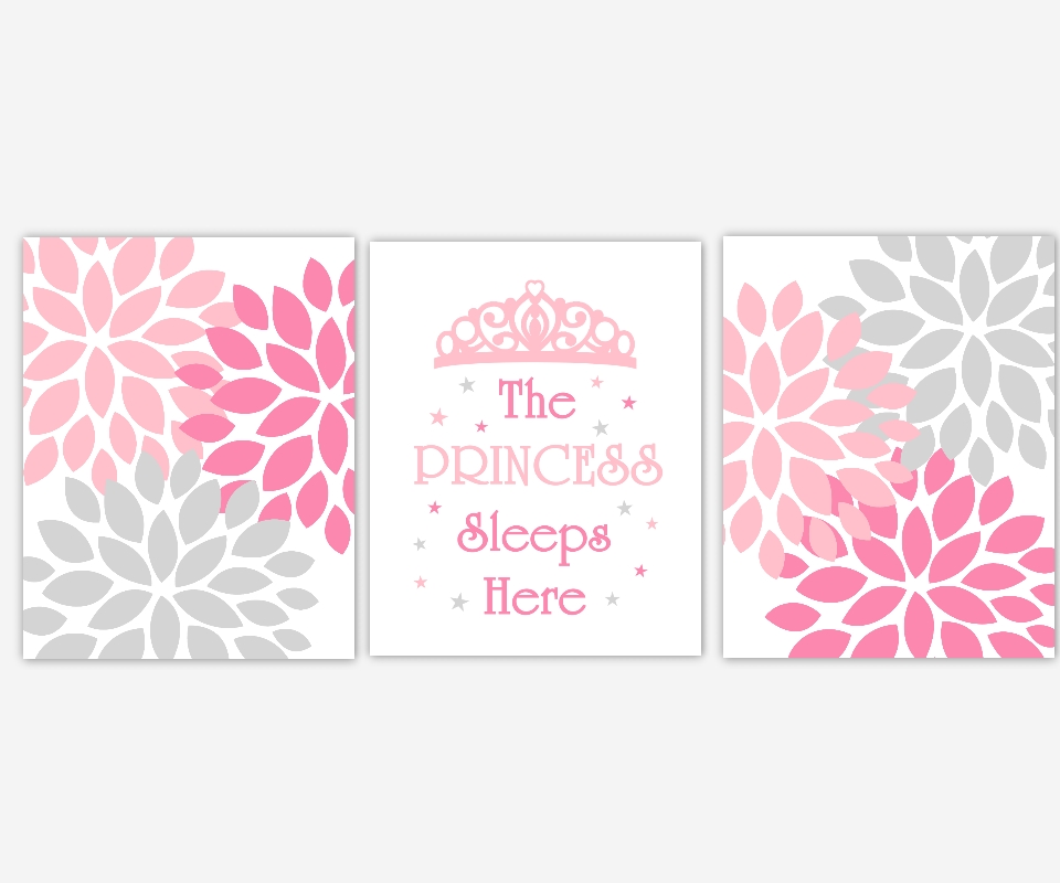 Baby Girls Canvas Nursery Wall Art Pink Gray Grey Princess Sleeps Inside Princess Canvas Wall Art (Image 5 of 20)