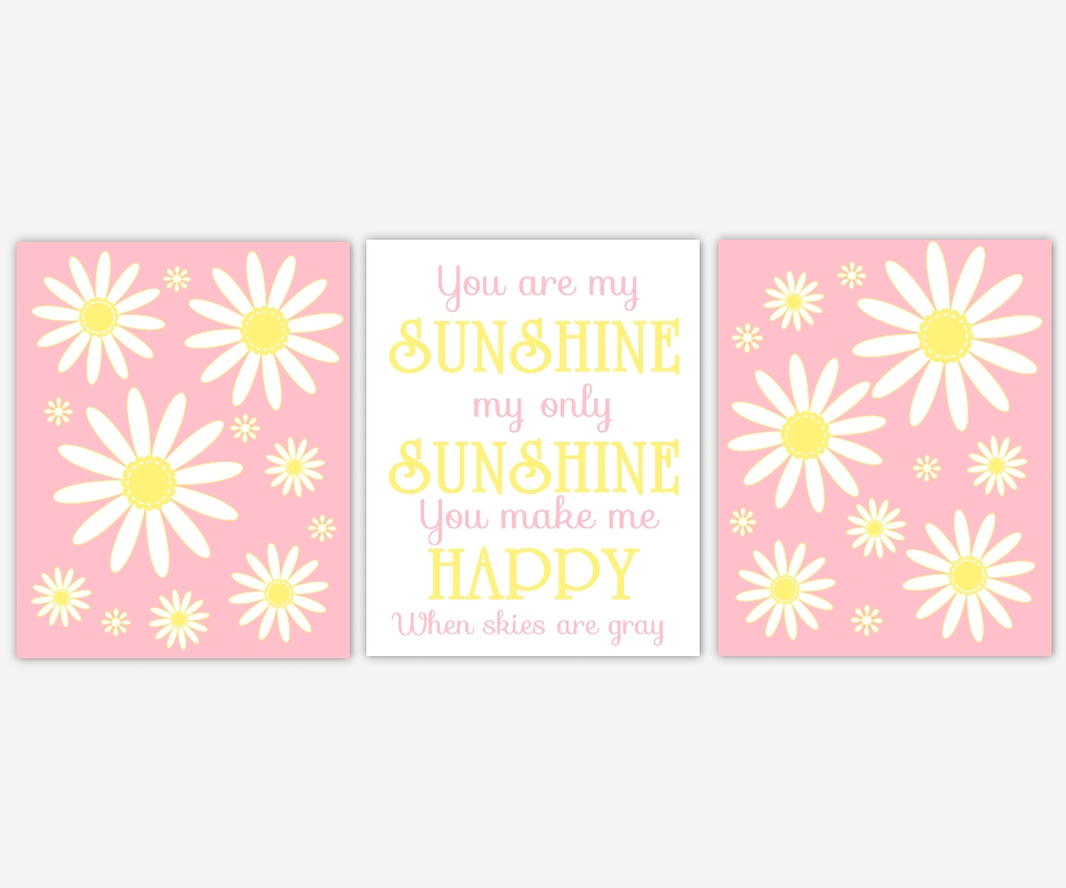 Baby Girls Canvas Nursery Wall Art Pink Yellow White You Are My For Girls Canvas Wall Art (Image 5 of 20)