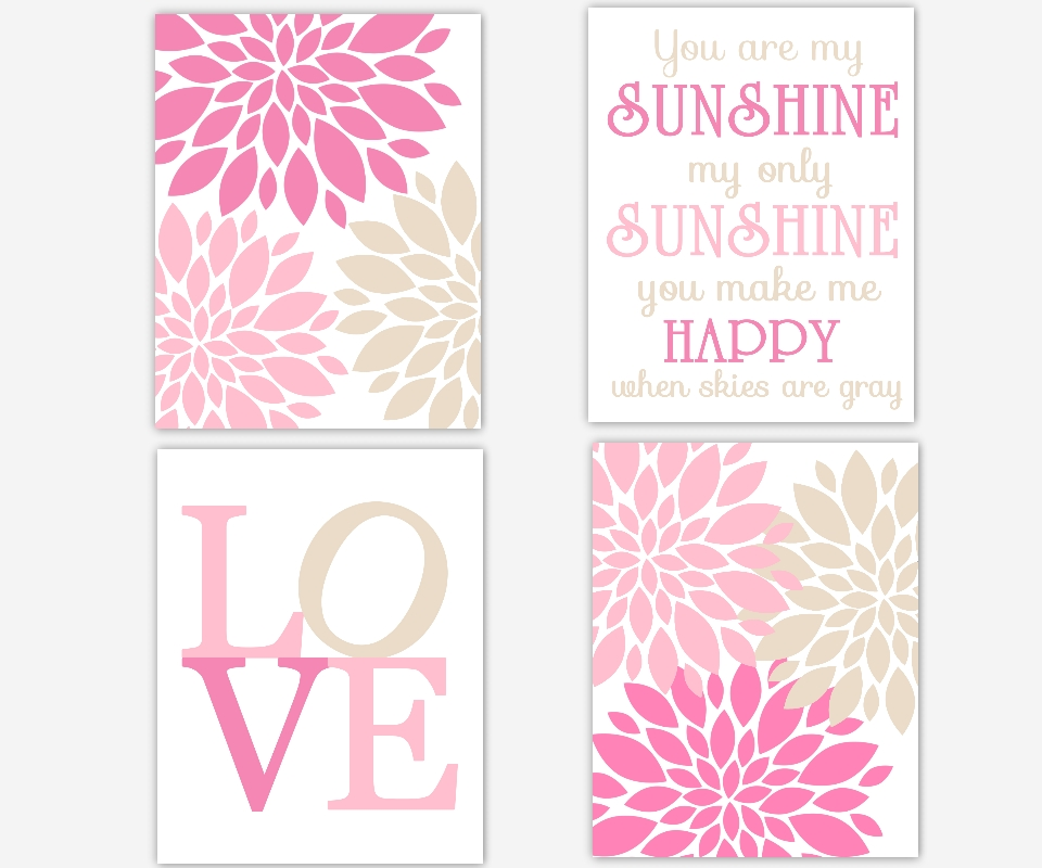Baby Girls Canvas Nursery Wall Art Pink You Are My Sunshine Love Intended For Girls Canvas Wall Art (Image 6 of 20)