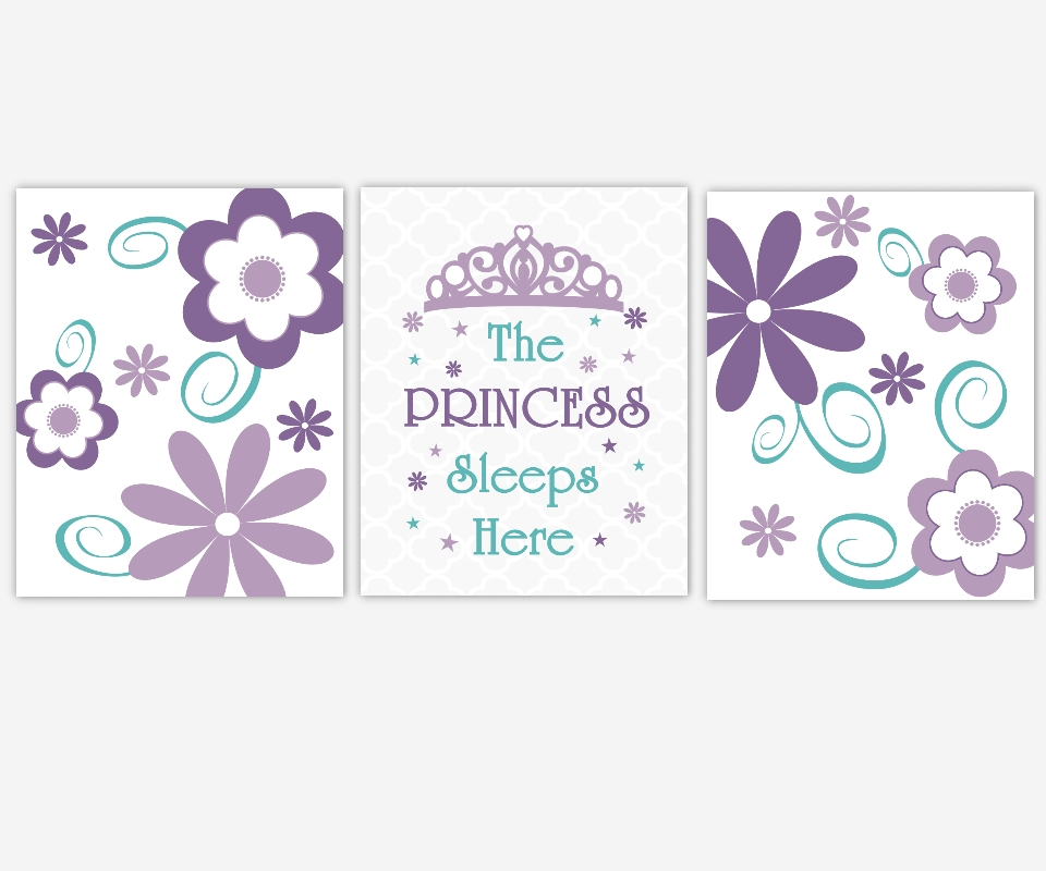 Baby Girls Canvas Nursery Wall Art Purple Lavender Teal Aqua For Princess Canvas Wall Art (Image 6 of 20)