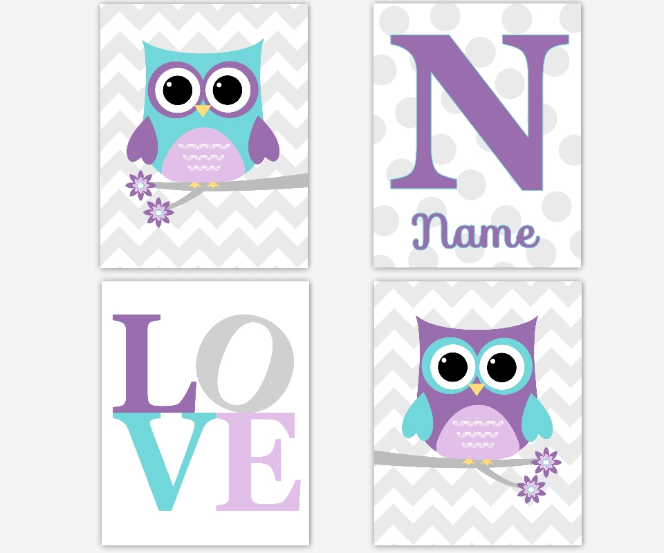Baby Girls Canvas Nursery Wall Art Purple Lavender Teal Aqua Gray Throughout Canvas Prints For Baby Nursery (View 19 of 20)