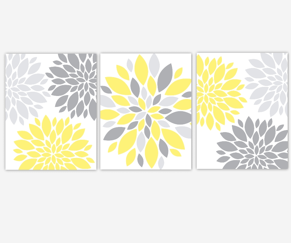 Baby Girls Canvas Nursery Wall Art Yellow Gray Grey Flower Burst With Regard To Yellow Grey Wall Art (Image 3 of 20)