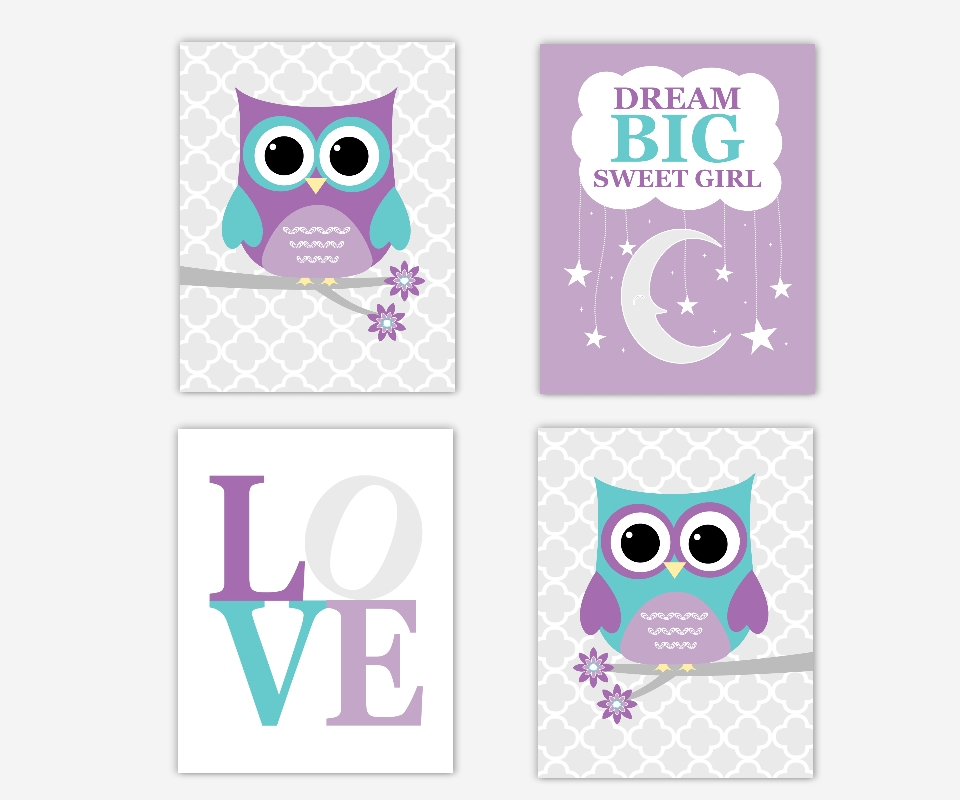 Baby Girls Nursery Wall Art Purple Lavender Teal Aqua Dream Big With Girls Canvas Wall Art (Image 7 of 20)